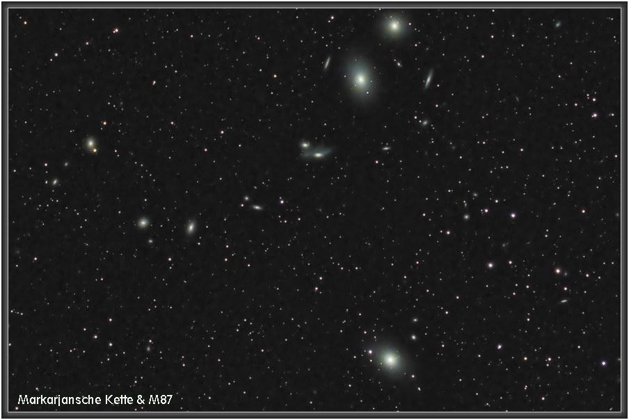 170421 Markarjansche Kette mit M87 (Virgo Galaxie / Smoking Gun Galaxie / Vigrgo A
