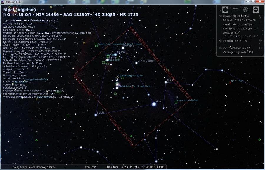 Stellarium - Orion  mit 75mm