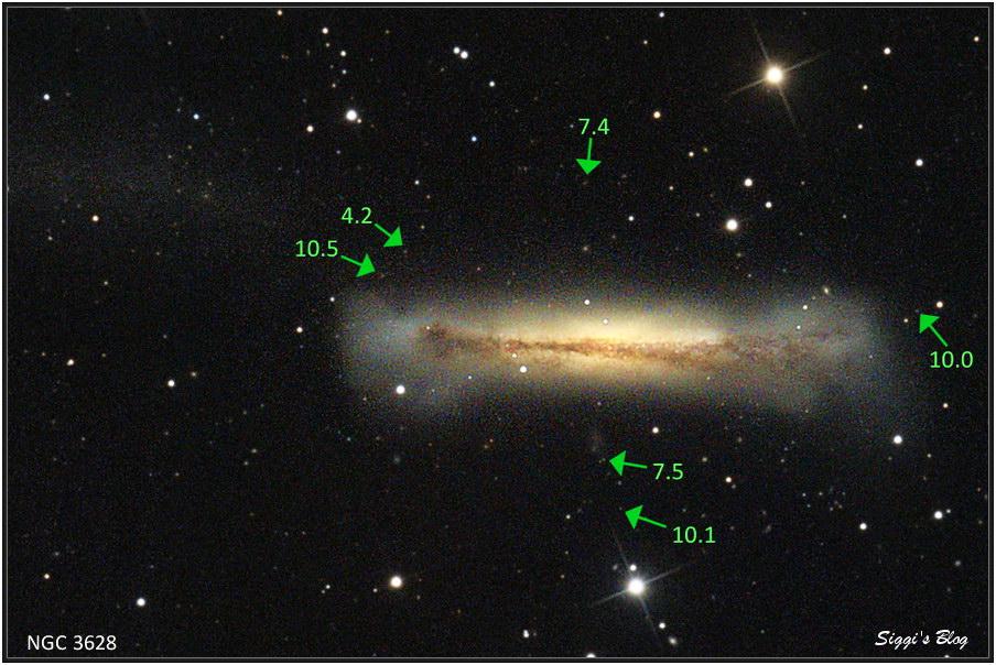 1905 NGC3628 - Hamburger Galaxie und Quasare